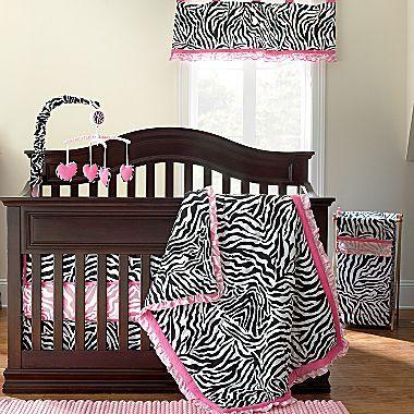 JCPenney Okie Dokie® Lipstick Zebra 4-pc. Baby Bedding
