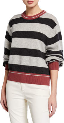 Splendid Cashmere Striped Pullover Sweater