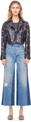 Rebecca Taylor Floriana Fleur Cropped Leather Jacket