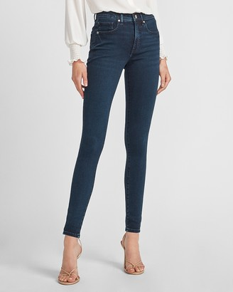 Express Mid Rise Dark Wash Skinny Jeans