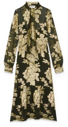 Saint Laurent Silk Floral Lame Maxi Dress