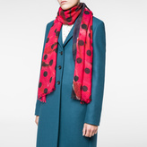Paul Smith Women's Navy And Red 'Rose' And Polka Dot Print Scarf