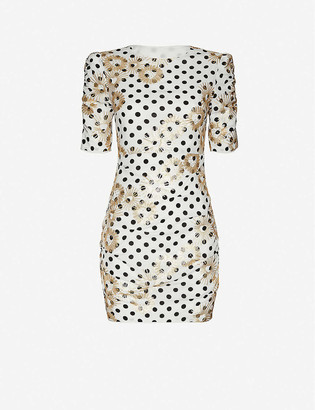 Maje Razula polka-dot embroidered woven mini dress