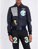Off-white C/o Virgil Abloh Aviator Leather Bomber Jacket