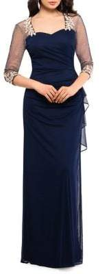 Xscape Evenings Embellished Three-Quarter Sleeve Gown
