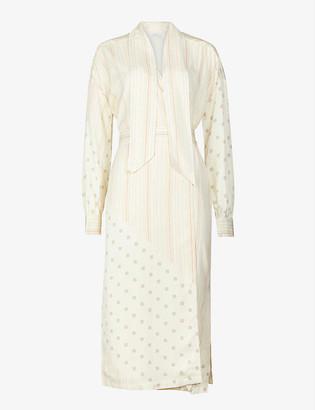 Reiss Romi striped twill midi wrap dress