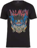 Balmain Logo and panther-print cotton T-shirt
