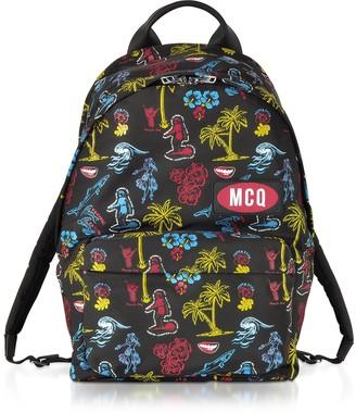 McQ Darkest Black Printed Nylon Classic Backpack
