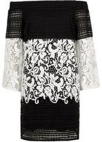 River Island Womens Black mono lace panel bardot swing dress