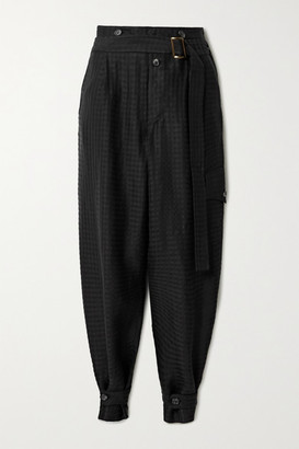 TRE by Natalie Ratabesi Belted Checked Twill Tapered Pants - Black