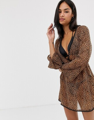 South Beach Leopard Print Wrap Beach Dress-Multi