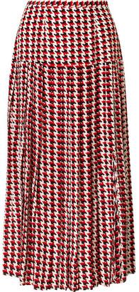 Rixo Tina Pleated Houndstooth Silk Crepe De Chine Midi Skirt - Red