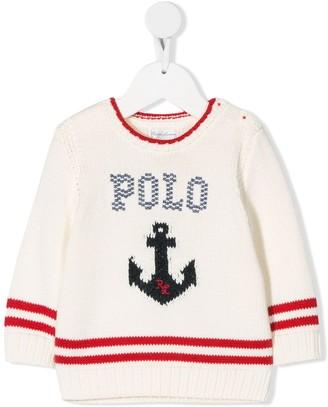 Ralph Lauren Kids knitted anchor motif jumper