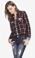 Express Contrast Plaid Boyfriend Shirt