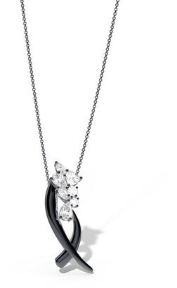Natori Sumi Stroke Midnight Silver Cascading White Topaz Slider Pendant Necklace