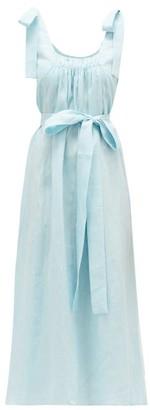 Gül Hürgel Bow-shoulder Linen-jacquard Midi Dress - Womens - Light Blue