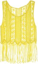 Jane Norman Yellow Fringe Crochet Top