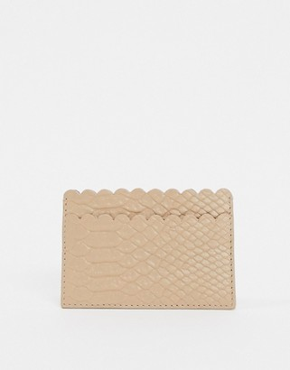 Paul Costelloe Leather Scalloped Edge Card Holder In Light Pink