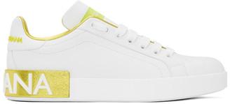 Dolce & Gabbana White and Gold Portofino Sneakers