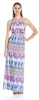 London Times Women's Ikat Tile Halter Maxi Dress