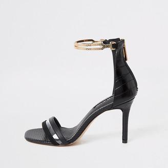 River Island Black high heel gold ankle cuff sandal