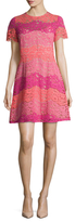 Shoshanna Lace Colorblock Fit And Flare Dress