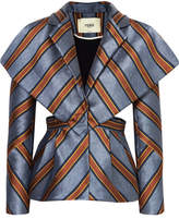 Fendi Cutout Striped Satin-jacquard Blazer - Blue