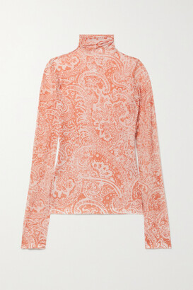 ACNE STUDIOS - Paisley-print Stretch-crepe Turtleneck Top - Orange