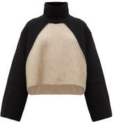 KHAITE Marianna Two-tone Cashmere Roll-neck Sweater - Womens - Black Cream