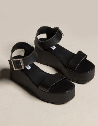 Steve Madden Lake Ankle Strap Black Wedges