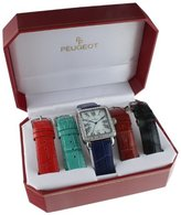 Peugeot Women's Silver-Tone Crystal Bezel Roman Numeral Dial with Five Interchangeable Leather Bands Watch Gift Set 677S