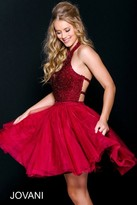 Jovani Pretty Embellished Short Dress in Halter Neckline 47510