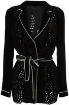 Alberta Ferretti perforated detailing belted jacket - women - Rayon/Silk/Cotton/Acetate - 42