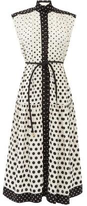 Zimmermann Belted Polka-dot Silk Crepe De Chine Midi Dress - White Black