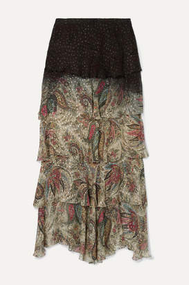Etro Tiered Printed Fil Coupe Chiffon Maxi Skirt - Beige