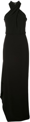 Halston Crossover Neck Gown