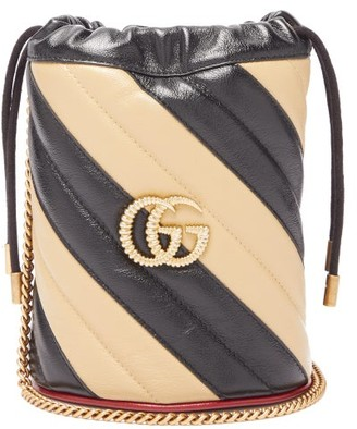 Gucci Gg Marmont Leather Bucket Bag - Womens - Black White