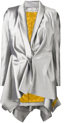 Poiret Metallic Draped Blazer