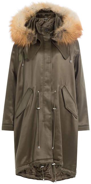 Alexander McQueen Wool Blend Satin Parka with Fox Fur