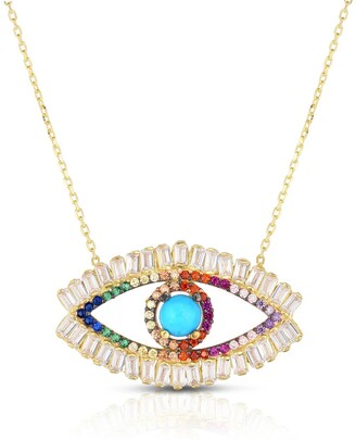 Sphera Milano 14K Yellow Gold Plated Sterling Silver Turquoise & Pave Rainbow CZ Evil Eye Pendant Necklace