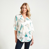 Apricot White Aqua & Coral Feather Print T-Shirt
