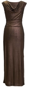 Connected Petite Metallic Cowlneck Gown