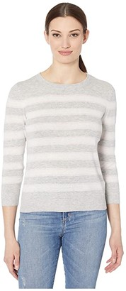 Lilla P Striped Crew Neck Sweater (Lilac Stripe) Women's Clothing