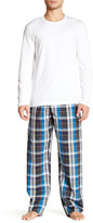 Calvin Klein Long Sleeve Knit Tee & Woven PJ Pant Set
