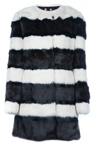 Tory Burch Striped rabbit fur coat