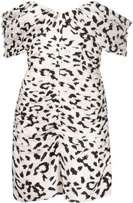 Self-Portrait off-shoulder leopard print mini dress