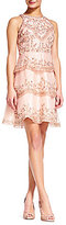 Adrianna Papell Halter Neck Sleeveless Tiered Beaded Organza Dress