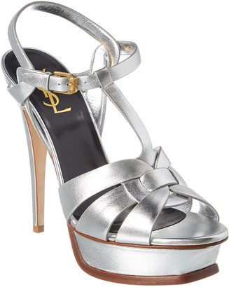 Saint Laurent Tribute 105 Metallic Leather Sandal