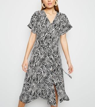 New Look Zebra Print Button Up Midi Dress