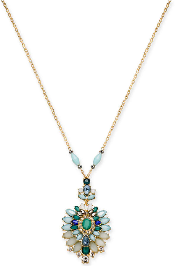 """INC International Concepts I.N.C. Gold-Tone Multi-Stone 33"""" Pendant Necklace, Created for Macy's"""